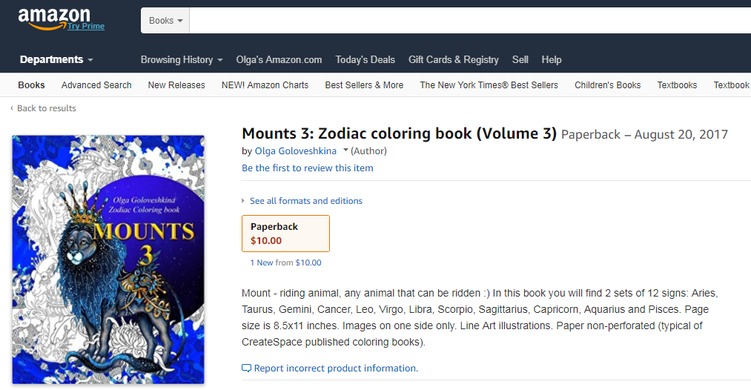 Mounts 3: Zodiac coloring book