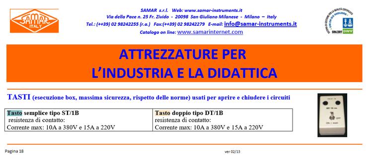 Estratto dall'attuale catalogo SMAR, con i nuovi tasti per i laboratori