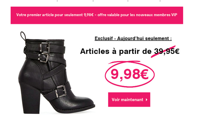 Les chroniques de Sandrine.fr : Mon bon plan du jour : 75% de réduction : sur le site Justfab pour tous les nouveaux clients soit une paire de chaussures à 9.98€ au lieu de 39.95 €