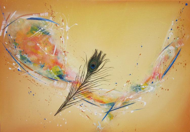 Acryl auf Leinwand, 70 x 50 cm mit echter Pfauenfeder