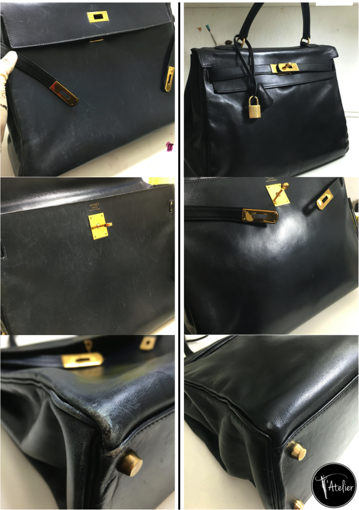Hermes Kelly, Handtaschenreparatur, Lederpflege, Luxustasche, Taschenreinigung, Taschenreparatur