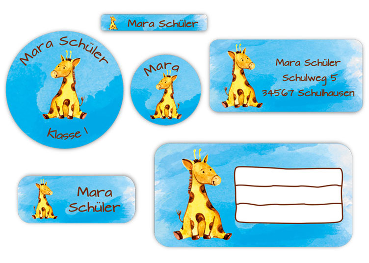 Schulaufkleber-Set - Motiv: Giraffe - Namensaufkleber, Stifteaufkleber, Adressaufkleber, Heftaufkleber,  hochwertige, umweltfreundliche PVC-freie Folie