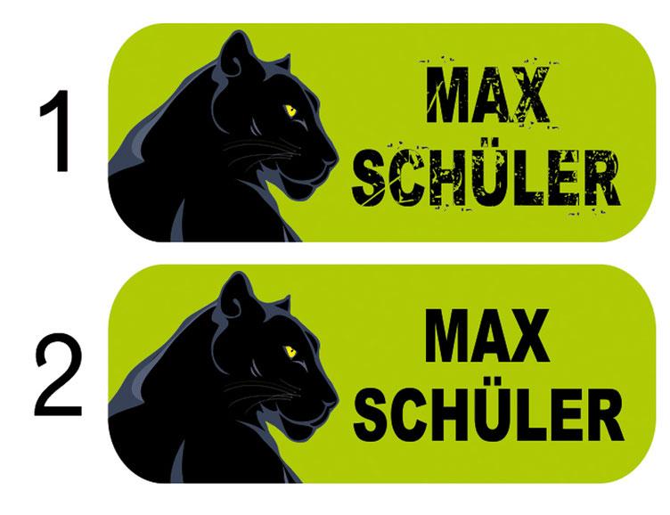 Schulaufkleber - Set: Schwarzer Panther, Schriftvarianten