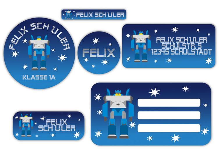 Schulaufkleber-Set - Motiv: Transformator Roboter - Namensaufkleber, Stifteaufkleber, Adressaufkleber, Heftaufkleber,  hochwertige, umweltfreundliche PVC-freie Folie