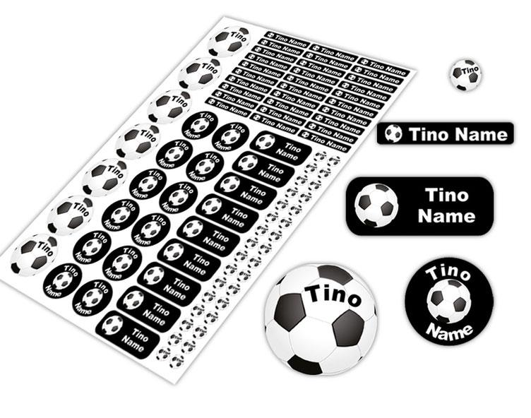 Schulstarter-Set - Motiv: Fußball - verschiedene Namensaufkleber, Stifteaufkleber, Mini Dots Aufkleber, hochwertige, umweltfreundliche PVC-freie Folie