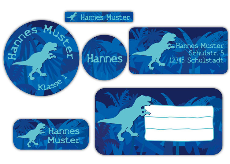 Schulaufkleber-Set - Motiv: T-Rex - Namensaufkleber, Stifteaufkleber, Adressaufkleber, Heftaufkleber,  hochwertige, umweltfreundliche PVC-freie Folie