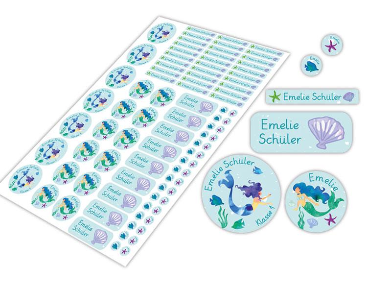 Schulstarter-Set - Motiv: Meerjungfrau - verschiedene Namensaufkleber, Stifteaufkleber, Mini Dots Aufkleber, hochwertige, umweltfreundliche PVC-freie Folie