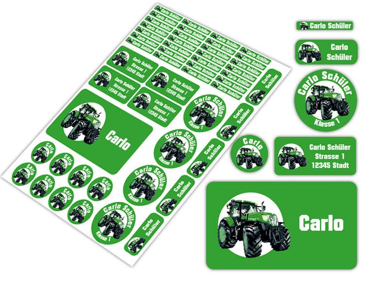 Schulstarter-Set - Motiv: Traktor - verschiedene Namensaufkleber, Stifteaufkleber, Brotdosenaufkleber, hochwertige, umweltfreundliche PVC-freie Folie