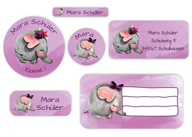 Schulaufkleber-Set - Motiv: Elefant - Namensaufkleber, Stifteaufkleber, Adressaufkleber, Heftaufkleber,  hochwertige, umweltfreundliche PVC-freie Folie