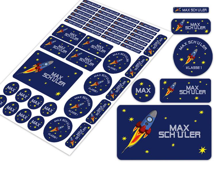 Schulstarter-Set - Motiv: Rakete - verschiedene Namensaufkleber, Stifteaufkleber, Brotdosenaufkleber, hochwertige, umweltfreundliche PVC-freie Folie