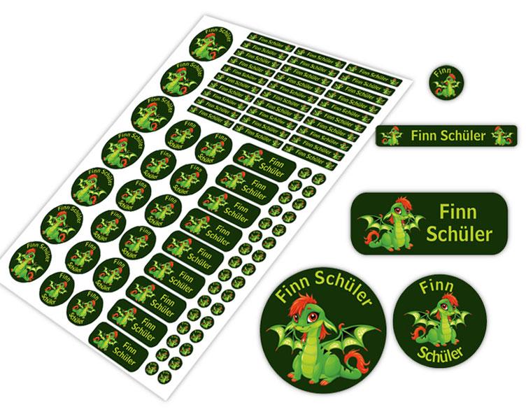 Schulstarter-Set - Motiv: Babydrache - verschiedene Namensaufkleber, Stifteaufkleber, Mini Dots Aufkleber, hochwertige, umweltfreundliche PVC-freie Folie