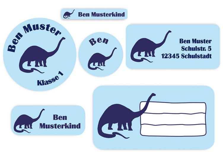 Schulaufkleber-Set - Motiv: Dinos Langhals  - Namensaufkleber, Stifteaufkleber, Adressaufkleber, Heftaufkleber,  hochwertige, umweltfreundliche PVC-freie Folie