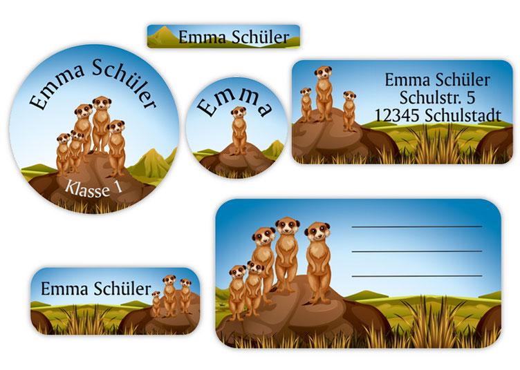 Schulaufkleber-Set - Motiv: Erdmännchen - Namensaufkleber, Stifteaufkleber, Adressaufkleber, Heftaufkleber,  hochwertige, umweltfreundliche PVC-freie Folie