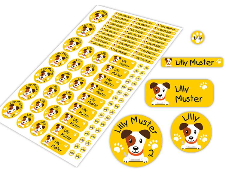 Schulstarter-Set - Motiv: Hund Jack Russel - verschiedene Namensaufkleber, Stifteaufkleber, Mini Dots Aufkleber, hochwertige, umweltfreundliche PVC-freie Folie