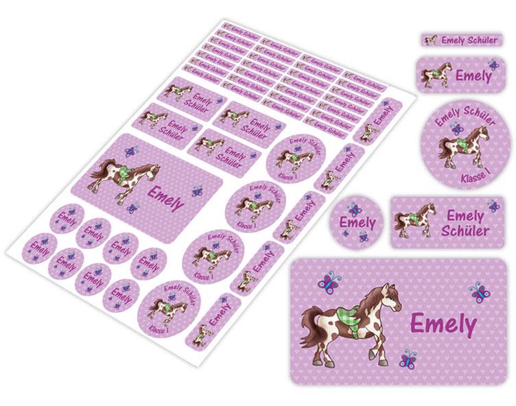 Schulstarter-Set - Motiv: Pferde Herzchen - lila - verschiedene Namensaufkleber, Stifteaufkleber, Brotdosenaufkleber, hochwertige, umweltfreundliche PVC-freie Folie