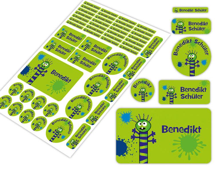 Schulstarter-Set - Motiv: Farbklecks Monster - verschiedene Namensaufkleber, Stifteaufkleber, Brotdosenaufkleber, hochwertige, umweltfreundliche PVC-freie Folie