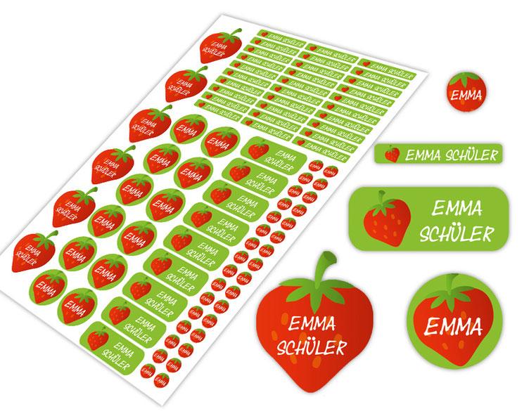 Schulstarter-Set - Motiv: Erdbeere - verschiedene Namensaufkleber, Stifteaufkleber, Mini Dots Aufkleber, hochwertige, umweltfreundliche PVC-freie Folie