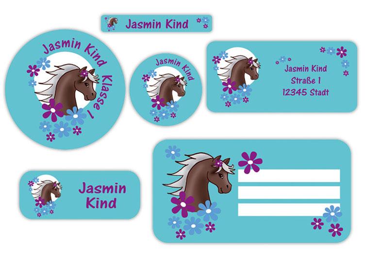 Schulaufkleber-Set - Motiv: Pony mit Blümchen  - Namensaufkleber, Stifteaufkleber, Adressaufkleber, Heftaufkleber,  hochwertige, umweltfreundliche PVC-freie Folie