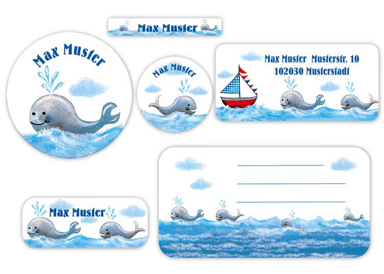 Schulaufkleber-Set - Motiv: Wale - Namensaufkleber, Stifteaufkleber, Adressaufkleber, Heftaufkleber,  hochwertige, umweltfreundliche PVC-freie Folie