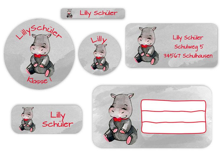 Schulaufkleber-Set - Motiv: Nilpferd - Namensaufkleber, Stifteaufkleber, Adressaufkleber, Heftaufkleber,  hochwertige, umweltfreundliche PVC-freie Folie