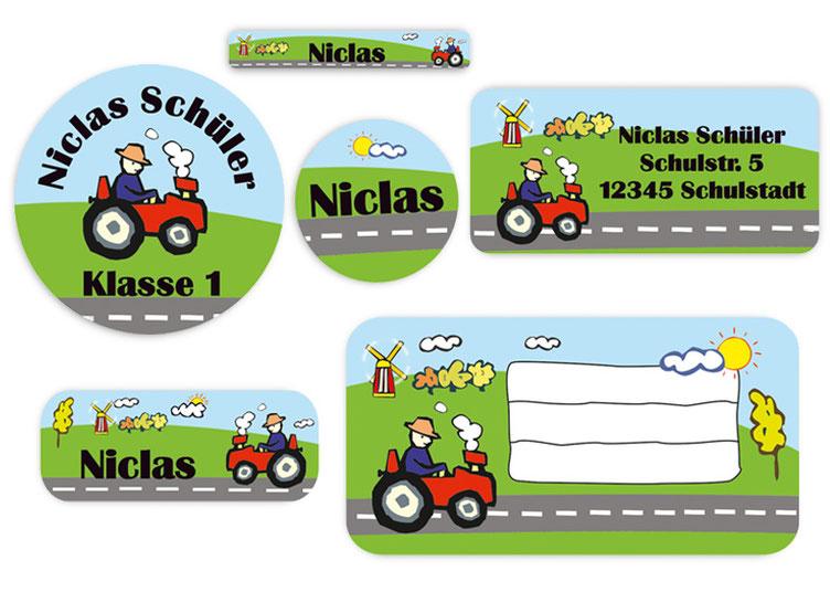Schulaufkleber-Set - Motiv: Traktor - Namensaufkleber, Stifteaufkleber, Adressaufkleber, Heftaufkleber,  hochwertige, umweltfreundliche PVC-freie Folie