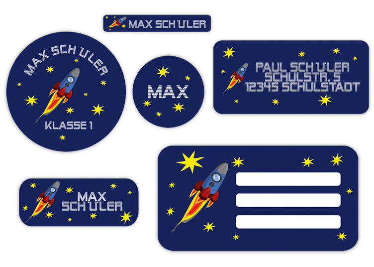 Schulaufkleber-Set - Motiv: Rakete - Namensaufkleber, Stifteaufkleber, Adressaufkleber, Heftaufkleber,  hochwertige, umweltfreundliche PVC-freie Folie