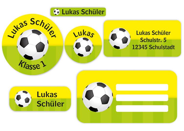 Schulaufkleber-Set - Motiv: Fußball - Namensaufkleber, Stifteaufkleber, Adressaufkleber, Heftaufkleber,  hochwertige, umweltfreundliche PVC-freie Folie