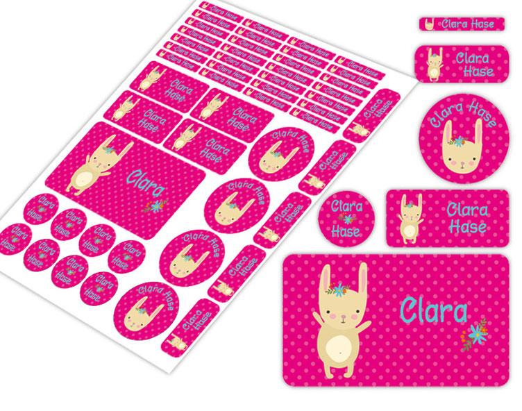 Schulstarter-Set - Motiv: niedliches Häschen- verschiedene Namensaufkleber, Stifteaufkleber, Brotdosenaufkleber, hochwertige, umweltfreundliche PVC-freie Folie
