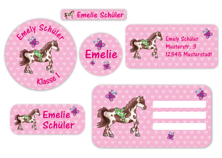 Schulaufkleber-Set - Motiv: Pferd mit Herzchen - Namensaufkleber, Stifteaufkleber, Adressaufkleber, Heftaufkleber,  hochwertige, umweltfreundliche PVC-freie Folie