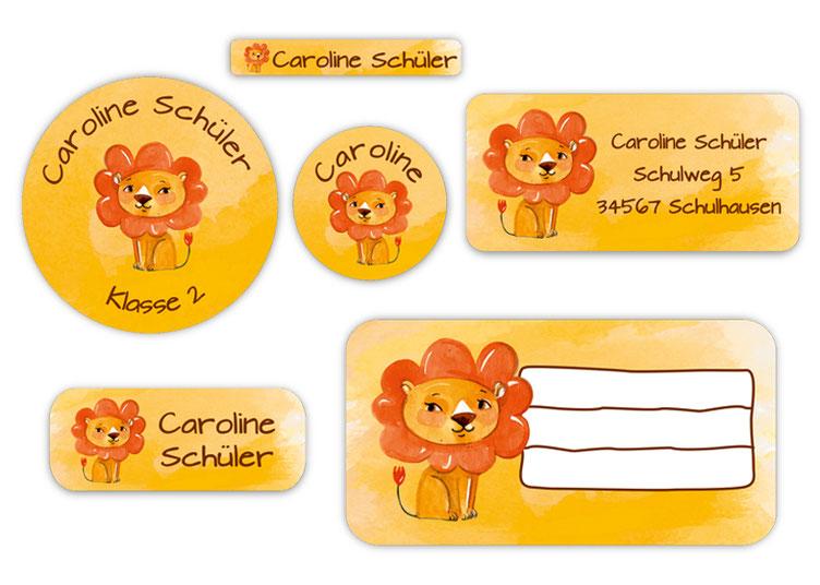 Schulaufkleber-Set - Motiv: Löwe - Namensaufkleber, Stifteaufkleber, Adressaufkleber, Heftaufkleber,  hochwertige, umweltfreundliche PVC-freie Folie