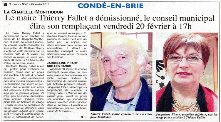 Février 2015 - Démission  du Maire de La Chapelle-Monthodon
