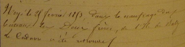 Note de l'inscription maritime de Roscoff sur la matricule de Nicolas Floch