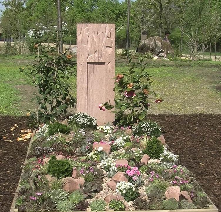 Wie eine kleine Gebirgslandschaft finden sich auf dieser Ruhestätte viele Hauswurzarten, kleine Nelken, Röschen und Gräser. Der Grabstein wird von Kamelien flankiert.