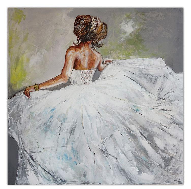 Gemälde 80x100x2 hochformat - Malerei Figur Blaue Spitze - Acrylbild Spitzenkleid Dekosteine