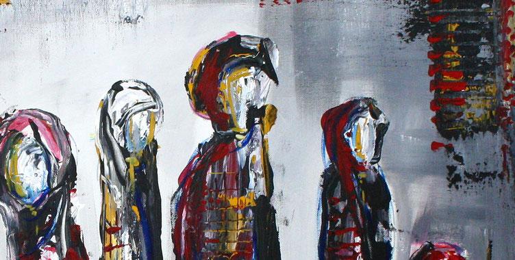 Bildausschnitt Versammlung - Abstrakte Figuren gemalt Gemälde