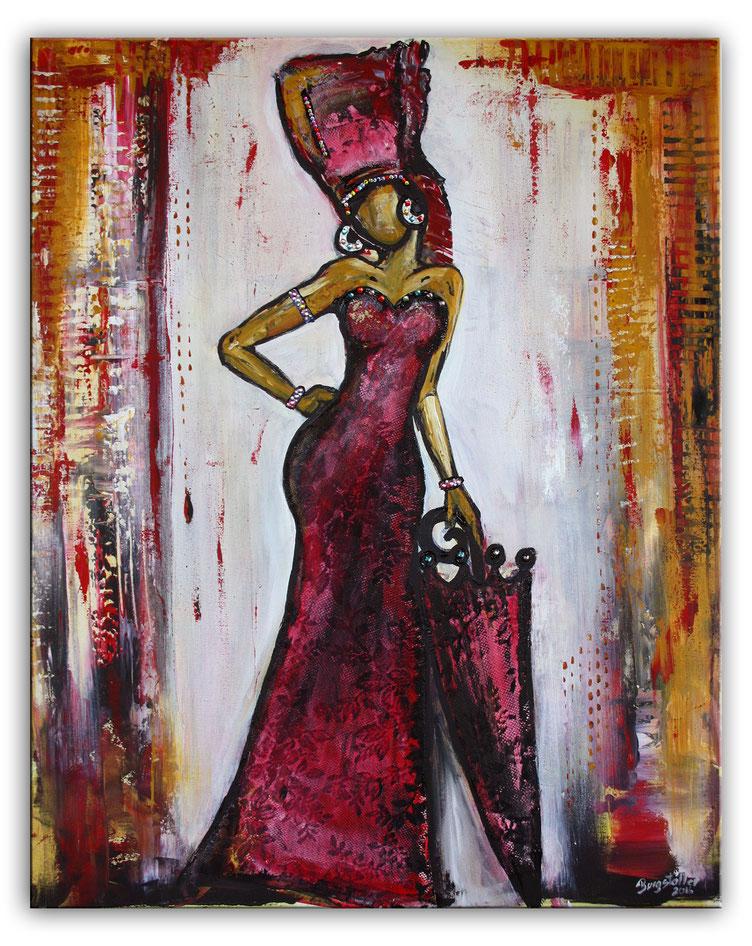 Gemälde 70x100x2 hochformat - Rote Spitze Spitzenkleid rot dekosteine malerei figur