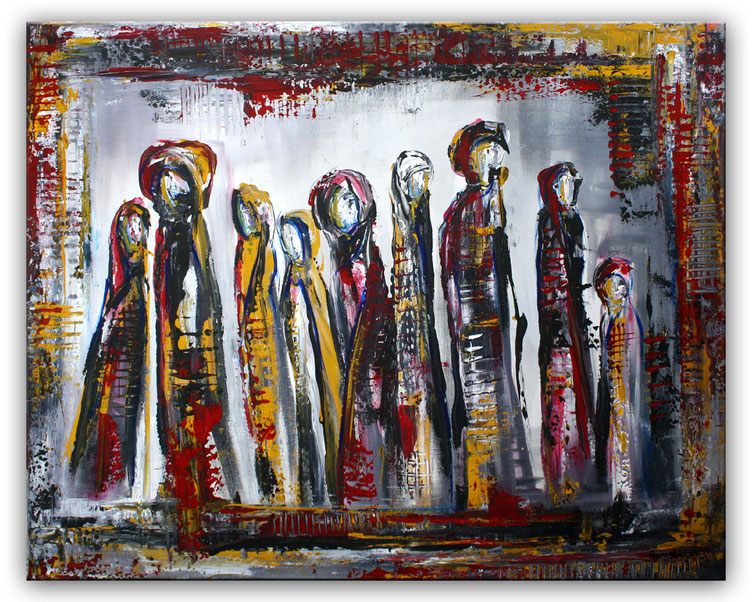 Versammlung - Gemälde abstrakte Malerei Figuren - Figurative Kunst