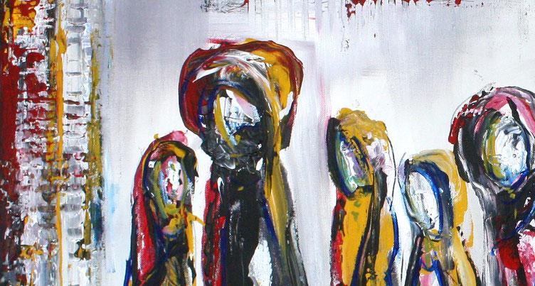 Bildausschnitt Versammlung - Abstrakte Figuren gemalt