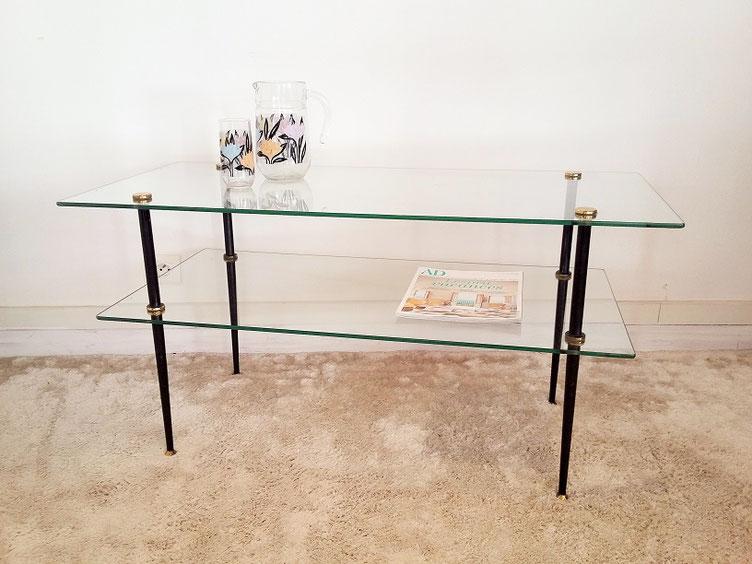 Table verre vintage années 50