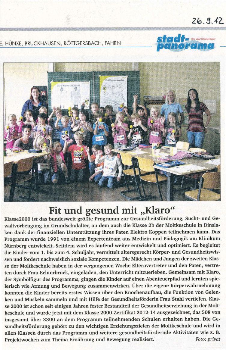 Zeitungsartikel vom 26. September 2012