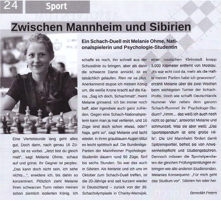 Interview mit Melanie Lubbe (Ohme), UniMAgazin 02/2010 über die Schacholympiade
