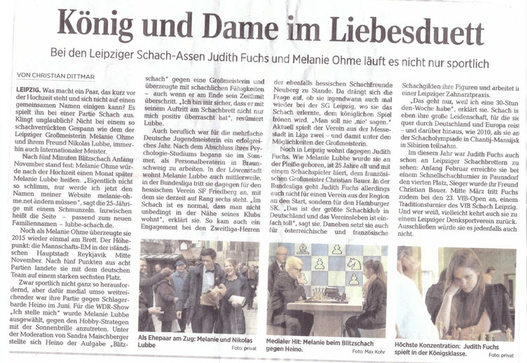 Zeitungsartikel über Melanie Lubbe und Judith Fuchs vom 18.02.2016 in der Leipziger Volkszeitung