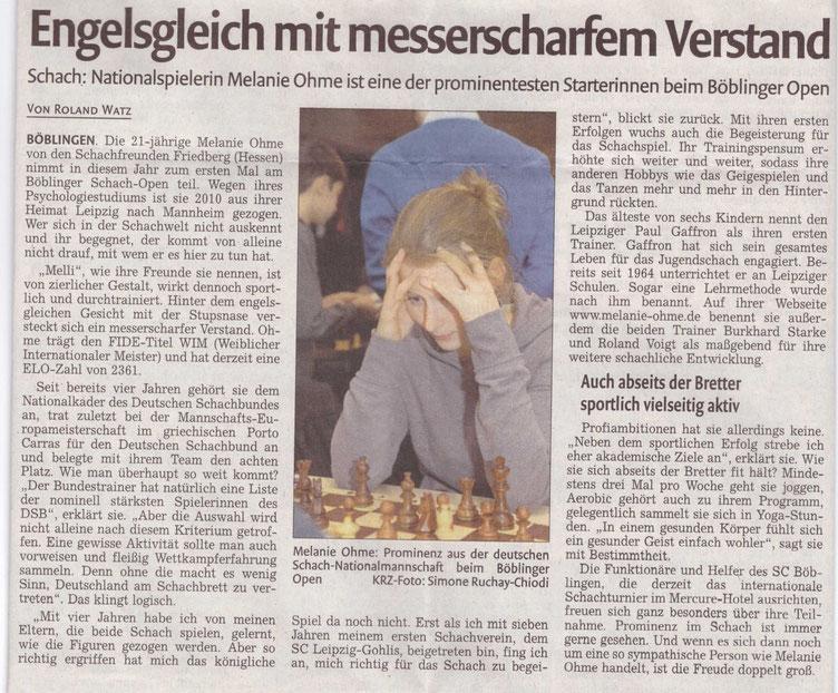 Zeitungsartikel Böblinger Schach-Open 2011, Melanie Lubbe (geb. Ohme)
