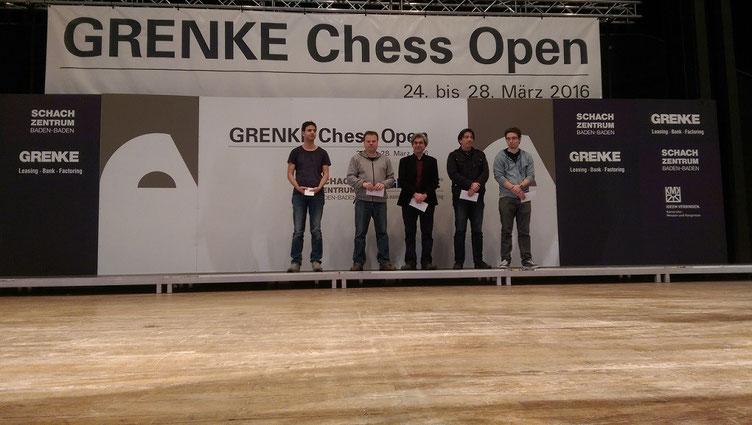 Platz 2 – 6 des B-Opens. Der Erstplatzierte ist nicht zur Siegerehrung erschienen.