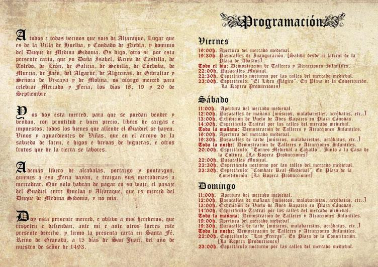 Programa del Mercado Medieval de Alfaraque