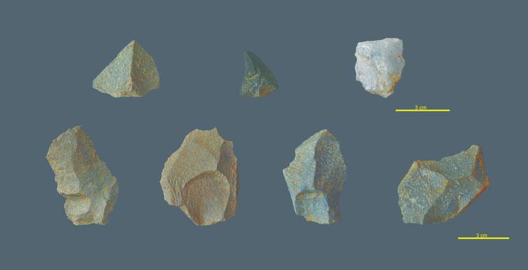 Lascas discoidais e Levallois dos niveis do Paleolítico Medio de Cova Eirós