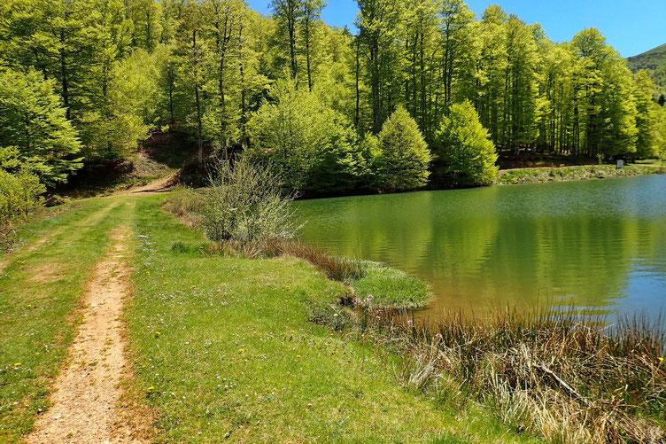 Remontée de la route vers un tout petit lac...