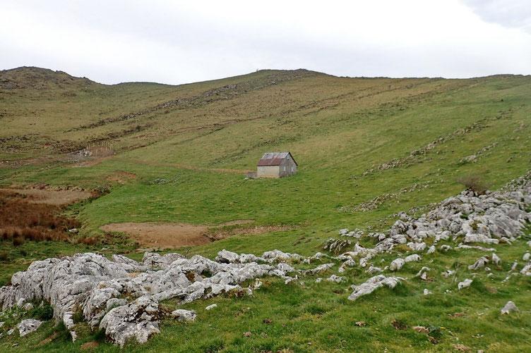 Arrivé au col, vue sur le plateau de Napatch et sa cabane.