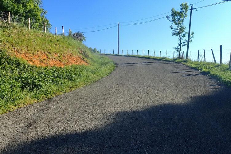 Cela commence par une montée raide via une petite route goudronnée.