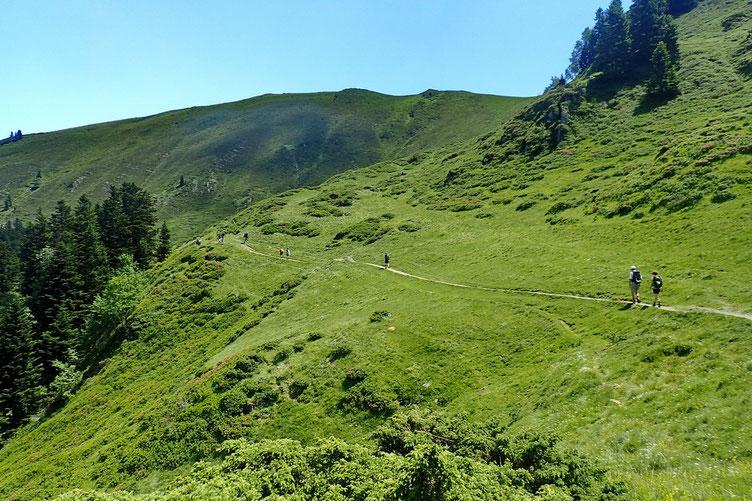 Après petite trempette, déjeuner et petit siestou, retour vers le Col de Pierrefite en file indienne...